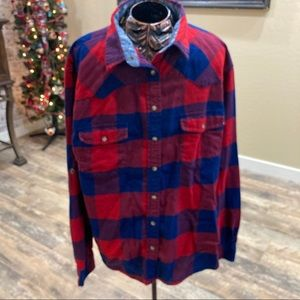 Jachs Girlfriend blue and red snap front flannel